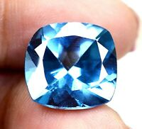 AAA Brazilian 12.90 Ct Natural Blue Topaz Cushion Loose Gemstone Certified F4934