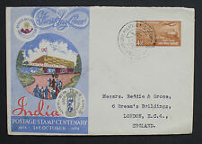 India Stamp Centenary on FDC Cover 1954 Calcutta Cancel