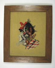 Crewel Framed Art Portrait Clown Embroidered Handmade Yarn 16 Inch Vintage 1965