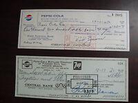 Lot of 2 Vintage 1970 Pepsi Cola Bottling Company Forrest City Checks Cancelled