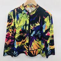 Joseph Ribkoff Womens Size 10 3/4 Sleeve Cropped Lightweight Jacket Tropical 809