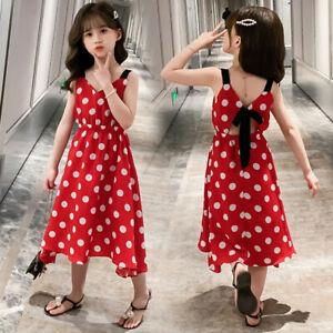 Kids Baby Children Girls Strap Dot Bow Princess Casual Dresses Clothes AU