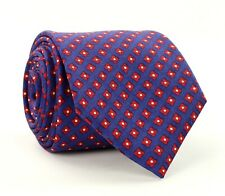 Current Burberry London 100% Silk Tie Made In Italy Blue w/Red Geometric Pattern