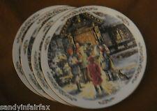 "Royal Doulton ~ Set of 4 Identical Buffet / Dessert Plates ~ 1989 ""Carolling"""