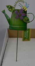 "Green Watering Can Bee Flower Garden Yard Flower Pot Stake Tin Sign 14"" #112"