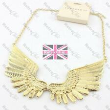 BIG GOLD WINGS COLLAR NECKLACE bib RETRO feather METAL ANGEL WING gold pltd