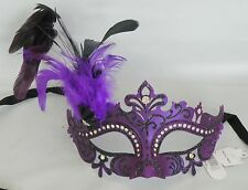 Masquerade Face Mask Purple & Black With Feathers - NEW Express Post Avaliable