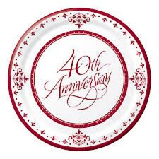 40th Ruby Wedding Anniversary Party Supplies - Banquet/Dinner Plate 26cm 18pk