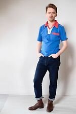 Vintage retro unused M mens cotton knit body bowling shirt polo blue red NOS