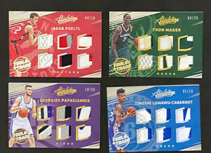 2016-17 Absolute 4 Card Lot Tools Of The Trade Rookie Jersey /10  /25