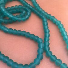 145X Pieces Frosted Glass Beads - 6mm Round Turquoise Bead - 85cm Strand
