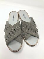 Charles David Slide Sandals Size 12M Sneaky Gray Suede Crisscross Studs 1620