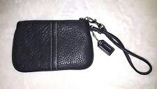 Coach Black Pebbled Leather Small Wristlet wrist bag clutch make up