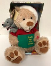 Chantilly Lane THE NIGHT BEFORE CHRISTMAS Talking Animated Bear Mouse Plush D11