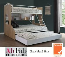 BUNK BEDS DOUBLE SINGLE TRIO BUNK BED LEFT RIGHT LADDER TRUNDLE WHITE & OAK