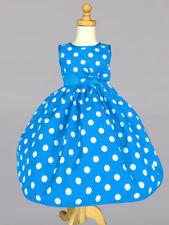 Christmas Polka Dot Summer Holiday Wedding Flower Girl Dress Winter Turquoise