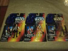 3 Star Wars POTF figues 1995 - Han Solo, Luke X-wing long saber, Hammerhead
