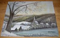 VINTAGE AMERICANA FOLK ART PRIMITIVE WINTER VILLAGE CHURCH STREAM OIL PAINTING