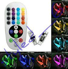 lot 2 pcs ampoules led w5w multi 12 couleur télécommande rgb t 10