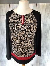 Taifun Black Top With Beige Floral Pattern & Red Trim Size 16