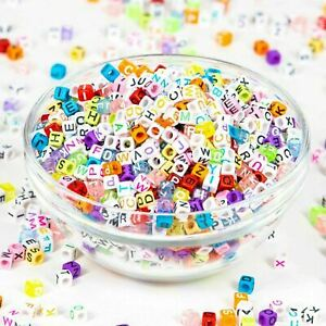 Jewelry Making Loose Letter Beads 2000+ Multi-Color Full Alphabet 6x6mm Kid Gift