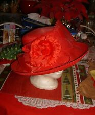 "FABULOUS RED DRESS HAT-DERBY/CHURCH/EASTER/LUNCHEON-SIZE 6.5/19"" DIA."