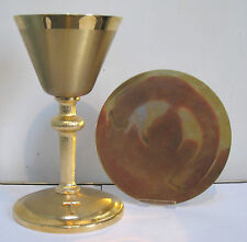 """NICE GOLD PLATED CHALICE AND PATEN SET """"E""""  #386 (CHURCH, RELIGIOUS CO.)"""