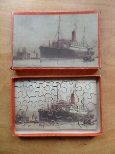 VINTAGE CHAD VALLEY CUNARD WOODEN JIGSAW PUZZLE - R.M.S Franconia - 30 pieces