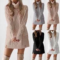Women Winter Turtleneck Sweater Warm Long Sleeve Pocket Knitted Tops Mini Dress