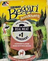 LOT OF 2 PURINA BEGGIN ADVENTURES VENISON FLAVOR WITH REAL BACON DOG TREATS-T