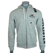 New Men's Hollister Full Zip Embroidered Hoodie Sweatshirt Fleece Lined M L XL