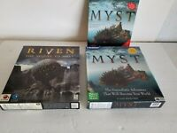 Myst & Riven Sequel to Mist Big Box PC Games Exlnt Condition Complete Vintage