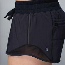 """Lululemon Hotty Hot Shorts  Black BLK Speed Turbo Yoga   Mesh 4 """" Long  Size 8"""