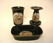 JAPANESE CHOKEN ARTS BATH SET / TOOTH BRUSH HOLDER  / CUP / SOAP DISH