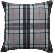 Farmhouse Plaid Throw Pillow Cover 18x18 Gray/Red