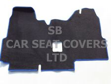 TO FIT A FORD TRANSIT VAN, 2000 - 2005, SWB, BLACK CARPET + BLUE PIPING