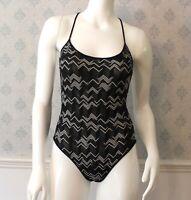 Missoni Mare Black & White Chevron Women's 1 Piece Bathing Suit & Skirt Size 42