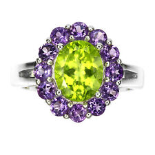 Suffragette 14ct White Gold Vermeil Peridot Amethyst Floral Cluster Ring UK S1/2