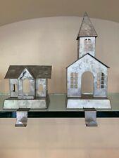 Pottery Barn GALVANIZED VILLAGE STOCKING HOLDER Single Double Story Set 2 House