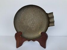 Vintage Copper Plate Pan Bowl Ashtray Etched Floral Geometric 7�
