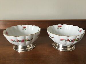 Vintage Portuguese Porcelain Bowls (2)  Companhia das Indias with Silver base