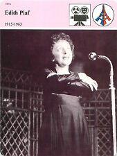 FICHE Édith Piaf chanteuse La Vie en rose Non,Je ne regrette rien FRANCE 80s
