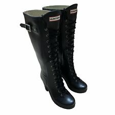 Hunter Lapins High Heel Lace Up Boots Black Women's Size US 8