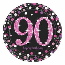 8 x Pink Celebration Age 90 Paper Plates Pink & Black 90th Birthday tableware
