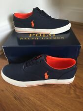 BNIB POLO RALPH LAUREN SHOES / CANVAS TRAINERS  / SNEAKERS NAVY BLUE SIZE 7.5