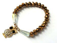 8mm Metallic Bronze Crystal Glass Bead Braceket with owl - JTY454