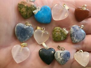Wholesale 12pcs natural heart stone Gemstone Silv. P Bead pendants Charm Necklac