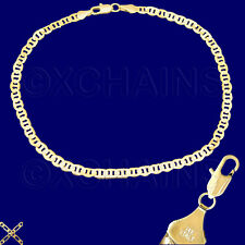 "14K ITALY GOLD PLATED 4mm MARINER CHAIN 10.5"" ANKLET BRACELET GUARANTEED M4CC"