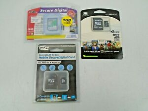 Job Lot of Sealed SD & SD Micro Memory Cards + Adapters 1 + 2  + 4GB