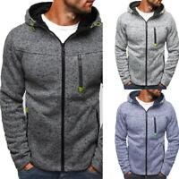 Men's Solid Zip Up Hoodie Classic Sweatshirt Hooded Winter Tops Top Coat Jacket